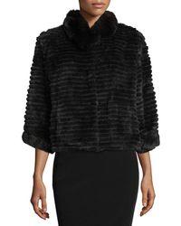 Belle Fare - High-collar Layered Fur Coat - Lyst