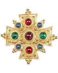 Ben-Amun Multicolour Cross Brooch - Metallic