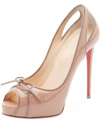 Christian Louboutin - Colbina Zipper-trim Patent Red Sole Pump - Lyst