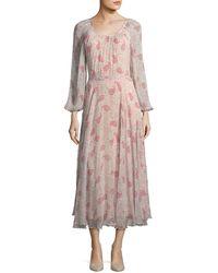 Co. - Round-neck Paisley-print Crinkled Chiffon Midi Dress - Lyst
