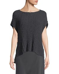 Eileen Fisher - Rail-knit Short-sleeve Sweater - Lyst