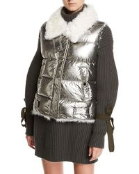 Moncler - Kerria Metallic Fur-collar Puffer Vest - Lyst