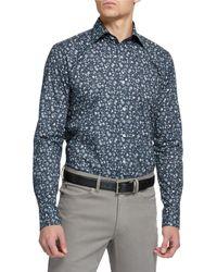 Peter Millar Men's Floral-print Sport Shirt - Blue