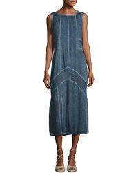 XCVI - Long Paneled Denim Tank Dress - Lyst