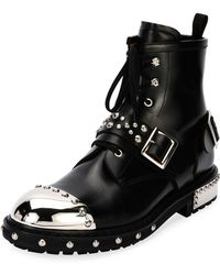 Alexander McQueen - Studded Cap-toe Leather Lace-up Boot - Lyst