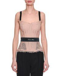 Dolce & Gabbana - Thin-strap Tulle Bustier W/ L'amore E' Bellisima Waistband - Lyst
