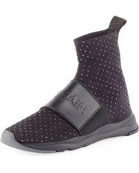 Balmain - Cameron Studded Knit Sneakers - Lyst