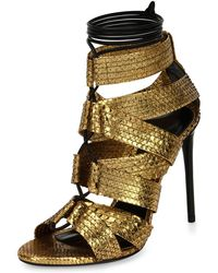 Tom Ford - Python Lace-up 105mm Sandal - Lyst