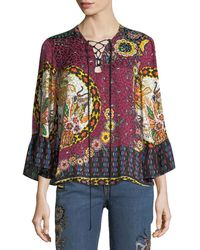 Etro - Jungle Floral-print Silk Lace-up Blouse - Lyst