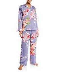 Natori Winter Peony Pyjama Set - Blue
