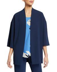 Natori Classic Solid Crepe Kimono - Blue