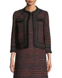 Kate Spade - Multi Tweed Fringe Jacket - Lyst