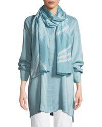 Eileen Fisher Angled Silk Shibori Scarf - Blue