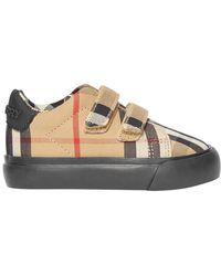Burberry Markham Check Grip-strap Sneaker, Baby - Natural