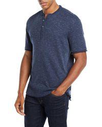 John Varvatos - Men's Space-dyed Waffle-knit Henley Shirt - Lyst