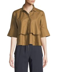 Carven - Tiered Button-front Cotton Shirt - Lyst
