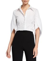 Zac Posen Tulip-sleeve Cotton Blouse - White