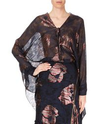 Roland Mouret - Becker Long-sleeve Striped Metallic Fil Coupe Poncho Top - Lyst