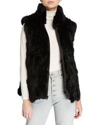 Adrienne Landau Reversible Rabbit Fur Vest - Black