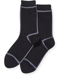 Hot Sox Striped Cotton Socks - Black