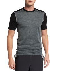 Stefano Ricci Men's Contrast-panel T-shirt - Gray
