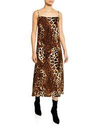 Nightcap Leopard-print Midi Slip Dress - Brown