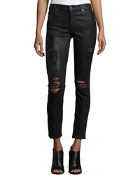 7 For All Mankind - The Ankle Skinny Coated Jeans - Lyst