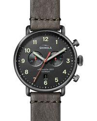 Shinola Canfield Chronograph Leather Strap Watch - Gray