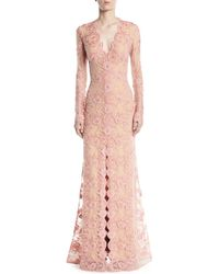 Jovani - Long-sleeve Lace Gown W/ Slit Front - Lyst