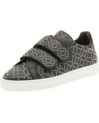 Alaïa Grip-strap Leather Sneakers W/ Studs - Black