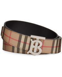 Burberry Men's Tb Vintage Check Belt - Natural