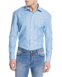 Kiton - Striped Cotton/linen Sport Shirt - Lyst