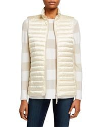 Lafayette 148 New York Scout Zip-front Quilted Satin Tech Vest - Natural
