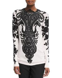 Naeem Khan   Long-sleeve Embroidered-lace Cashmere Sweater   Lyst