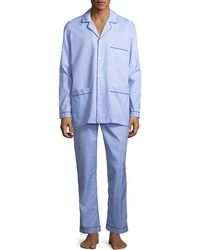 Neiman Marcus - Woven Pajama Set With Piping - Lyst