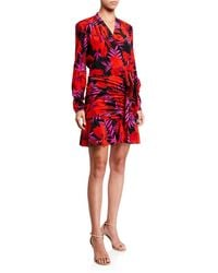 Veronica Beard Lorina Floral-print Tie-front Dress - Red