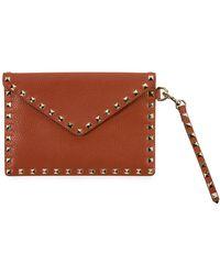 Valentino - Rockstud Envelope Flap Wristlet Pouch - Lyst