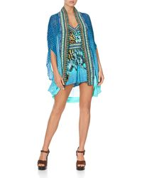 Camilla Open-front Embellished Coverup - Blue