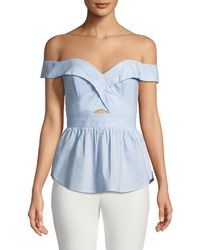 Bardot - Sara Off-the-shoulder Fitted Peplum Top - Lyst