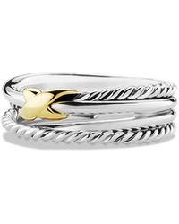 David Yurman Sterling Silver 18k Yellow Gold Ring - Metallic