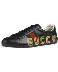 cbcc893a1dc Lyst - Gucci Men s New Ace Sneaker With Guccy Print - Multi White in ...