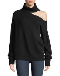 PAIGE - Raundi Cold-shoulder Turtleneck Wool-blend Sweater - Lyst