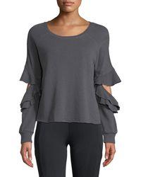 Lanston - Ruffle Cutout French-terry Pullover Sweatshirt - Lyst