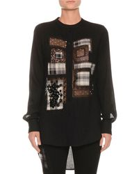 Ermanno Scervino - Button-front Long-sleeve Plaid-patchwork Blouse With High-low Hem - Lyst
