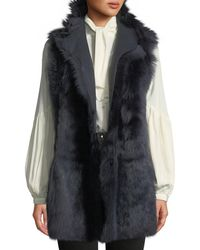 Gushlow and Cole - Mid-length Reversible Shearling & Leather Vest - Lyst