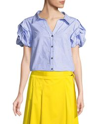 Badgley Mischka - Star Embroidered Pinstripe Puff-sleeve Top - Lyst