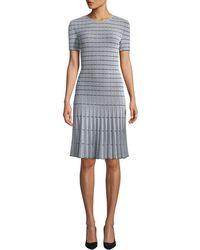 St. John Jewel-neck Short-sleeve Monochrome Ottoman Knit Fit-and-flare Dress - Gray
