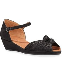 Gentle Souls Lily Knotted Nubuck Wedge Sandals - Black