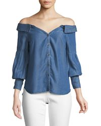Ella Moss - Off-the-shoulder Chambray Top - Lyst
