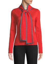 ESCADA - Long-sleeve Contrast Trim Neck-sash Wool Pullover Top - Lyst